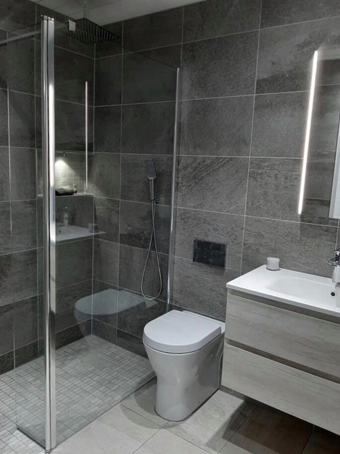 Newly renovated bathroom in gray